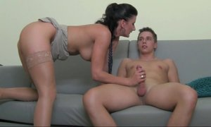 European Milf fucking 18 yo guy on camera Beeg