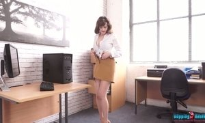 Bopping secretary in white stockings Kate Anne is stripping in the office