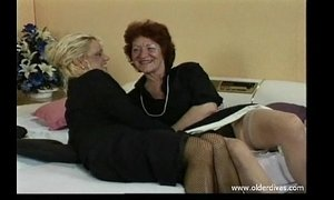 Old lesbians in business suits stockings and heels get it on xVideos