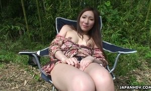 Cute Japanese girlfriend Kaoru Sakaki shows her tits in the car and masturbates pussy in the forest AnySex