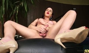 Hot blooded tranny Leticia Alves is jerking off hard and meaty cock AnySex