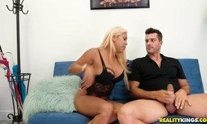 Chubby blonde Latina Desiree Lopez gets paid to ride big white cock AnalDin