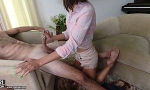 Slim Asian chick Aria Skye is riding heavy hose after a great blowjob AnySex
