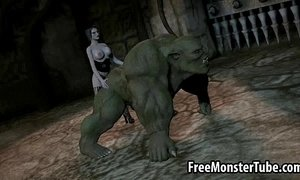 3D orc getting fucked by a babe with a strap on dildo