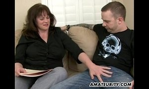 Busty amateur Milf sucks and fucks a young dick xVideos