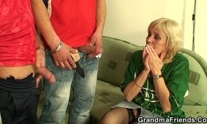 Granny football fan swallows two cocks xVideos