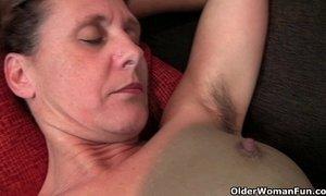 Granny Inge gets fingered up her full bushed pussy xVideos