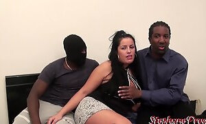 Curvy French MILF has sex with two black fuckers on camera