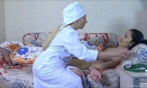 Tricky Flat-Chested Young Lesbian Seduces Mature Nurse AnalDin