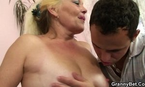 Old blonde rides his cock xVideos