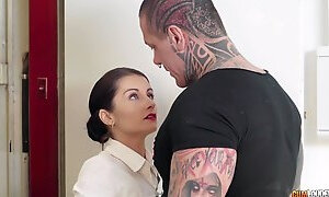 Brunette precious Bianka Blue fucking with her tattooed fella
