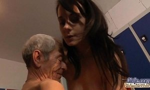 Young girl is so kinky that fucks an old fart in a locker room xVideos