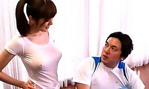 Hot Asian Yoga Instructor In a Tight White Shirt Showing Her Big Boobs