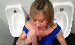 Tgirl Pauline gagging on Mikes cock in the club toilets....