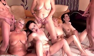 Kinky mature moms and fat GILFs in pissing orgy with boy