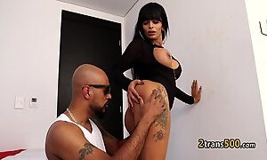 Horny shemale rided black cock