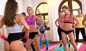 Hot busty fit girl cum after yoga class