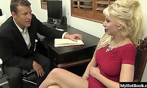 Office worker with fake tits wants to be fucked by a horny guy