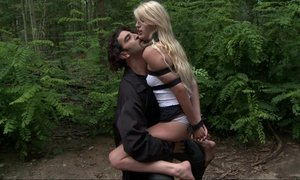 Euro babe in stockings gets fucked in the forest