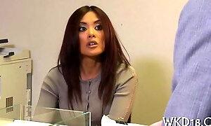 Office tease jerking off her boss in lingerie