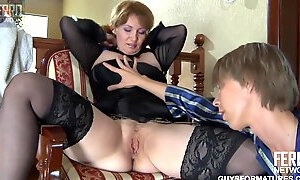 Chubby mature bitch with big saggy tits gets sodomized