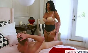 Tremendous milf with king size boobs Raven Hart fucks young fellow of her son