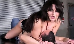 Coarse angel with a cigarette trempling and smothering a guy