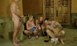 Spoiled busty chick Lucy Foxx takes part in crazy foursome AnySex