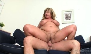 Young dude enjoys having dirty sex with fat mature whore