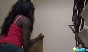 Busty ebony nextdoor chick Tatiyana Fox is sucking fingers during pussy pounding