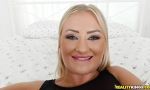 Naughty blondie gives her man a good cock sucking and riding AnalDin