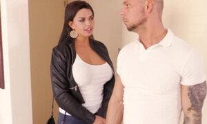 Busty babe seduces landlord and fucks him