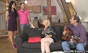 Sweetie gets lured into threesome by her BF's parents xVideos