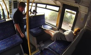 Sleepy babe woken and fucked hard in the bus Beeg